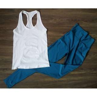 Gym / Yoga Outfit: Forever 21 Seamless Racerback + Highwaist Leggings
