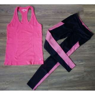 Gym / Yoga Outfit: Forever 21 Seamless Racerback + Performance Leggings