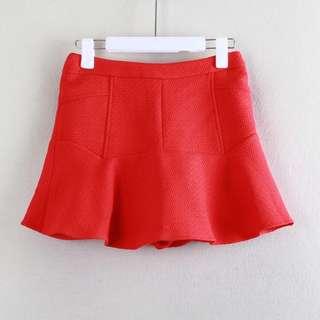 🚚 全新專櫃品牌歐美時尚正紅色特殊造型拼接荷葉裙A字裙褲裙短裙