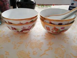 Old wedding bowls and spoons