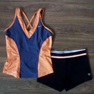 Gym / Yoga Outfit: Nike Crossback Tank + Forever 21 Stretch-Knit Shorts