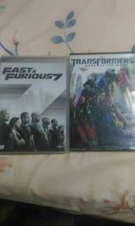 Transformers and Fast & Furious 7 movie dvd for cheap
