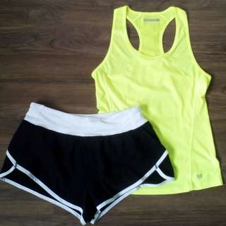 Gym / Running Outfit: Forever 21 Racerback + Dolphin-Hem Shorts