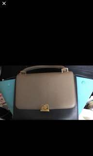 Celine trapeze small size 27.5cm calfskin tiffany blue brown black tricolour good condition seldom use