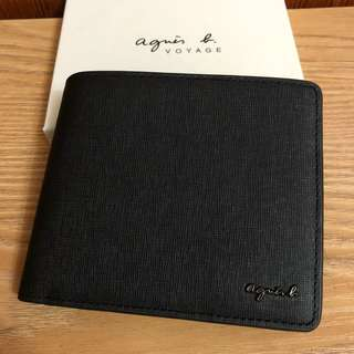 全新 agnes b. 新款 零錢袋 黑色 草寫logo 牛皮 卡夾 男用 短夾 皮夾 真皮 保證真品 正品 防刮材質