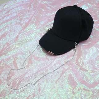 素面鐵鍊造型中性老帽