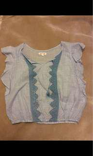 Blue striped ruffled tee with tassels- Size L