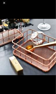 Rose Gold Tray Baskets