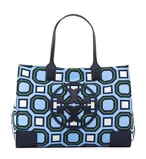 Authentic Tory Burch Ella Octagon Square Print Nylon Tote Bag, Blue Pattern