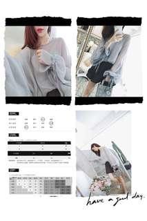 2018韓版燈籠袖雪紡衫連內背心一套👍🏻包郵