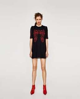 Zara Mini Floral Embroidered DressSMALL