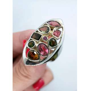 Multi-coloured Tourmaline Ring, Size 6 3/4 US, Silver, Cleansing