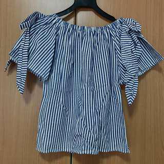 Blue stripes off shoulder top