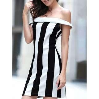 Off The Shoulder Striped Dress TG