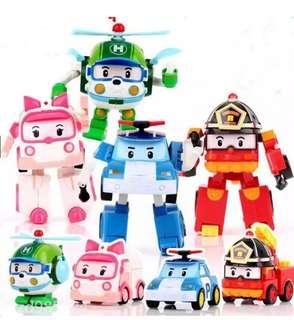 4 Pcs Robocar Poli Transformation Robot South Korea Thomas Kids Gift Car Toys