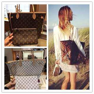 Louis Vuitton classic old black and white chess board shopping bag shoulder bag female bag M40995