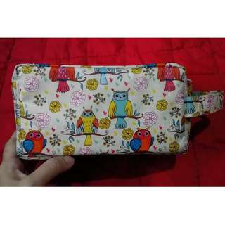 owl make up pouch 4x4x6""