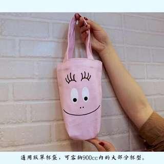 🚚 【lily shop】❗️現貨 泡泡先生 環保杯帶 提袋 有底飲料提袋 環保 飲料杯套 帶 飲料袋 手搖杯提袋