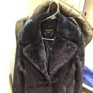 Navy Faux Fur Coat