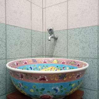 Blue Basin Sink with Nyonya Peranakan Motif Design