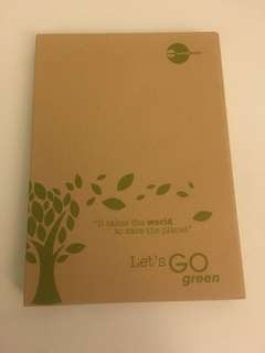 Let's Go Green notepad with multi size post-it-notes