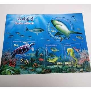朝鮮海洋動物郵票小全張
