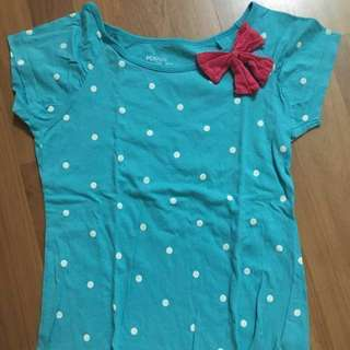 PDI Kid round neck Pokka dot with ribbon shirt