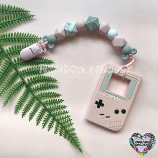 Handmade Pacifier clip + Pink Gameboy teether