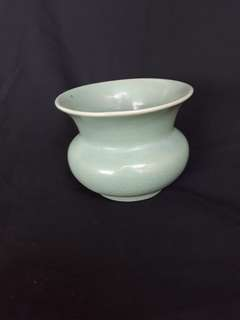 Song dynasty Ru kiln sky blue vase 12cm diameter.宋代汝窯瓷器小瓶天青釉,到代特價300。Ref801