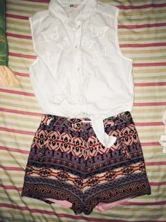 SET E AUTHENTIC AND BRAND NEW H&M POLO TOP AND JELLY BEAN HW SHORT (negotiable)