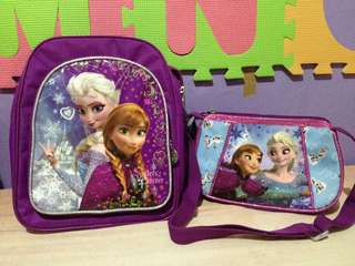 Set of 2: Frozen Backpack & Sling Bag