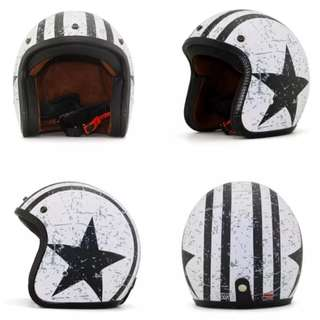 Many Colours/Designs Motorcycle Helmet Open Face Three Button Snap Retro Vintage Vespa Scooter Cafe Racer Motorbike Leather Gloss Old School