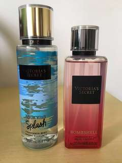 Bundle of authentic victoria secret perfume mist Aquakiss splash & bombshell( not sold  individualy)