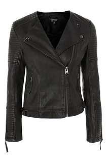 Topshop Faux Leather Jacket Black Size 8
