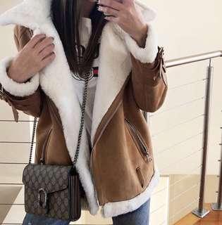 Suede and fur tan coat jacket sz 6-8