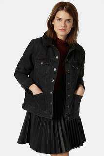 Topshop Moto Shearling Black Denim Jacket Size 8