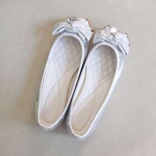 Brand New Silver Ballet Flats with Ribbon