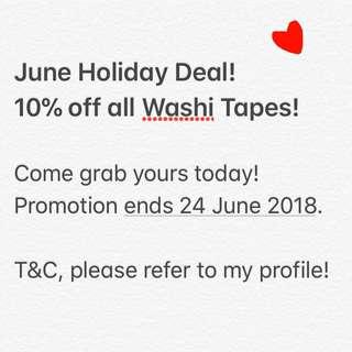 Washi Tape sale! 10% OFF!