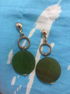 Green Wooden Dangle Earrings