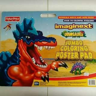 超值 Fisher-Price, Dinosaurs Jumbo Coloring Poster Pad