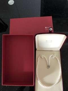 全新 周大福 珍珠頸鏈 項鍊