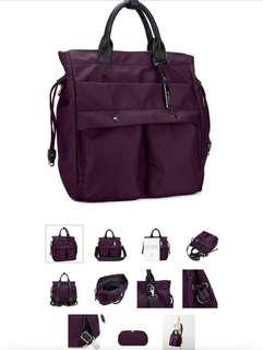 Mizzue bag 4in1 purple color (cross body bag, backpack, handbag, shoulder bag)