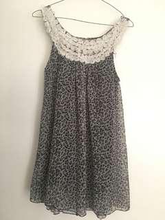 Black white animal print sleeveless dress