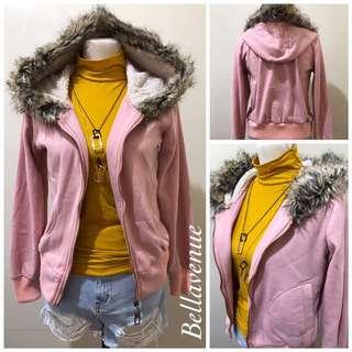 Jacket with fur hoodie
