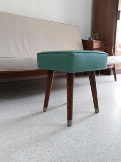 cute vintage pencil leg stool newly reupholstered in turquiose sea green