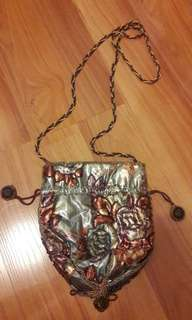 Beaded Dinner Pouch with strings and strap