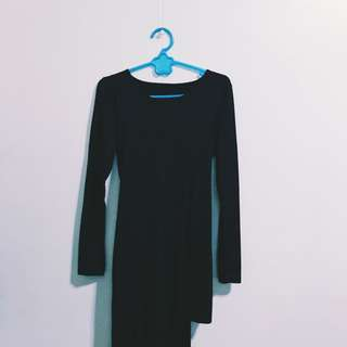 REPRICED Black Draped Dress
