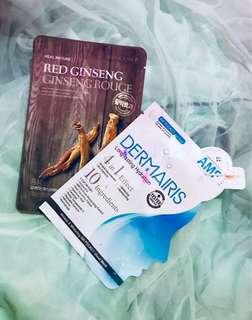 Beauty Mask Bundle - The Face Shop Red Ginseng & Dermairis Blue 4-in-1 Effect