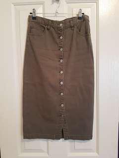 Seed khaki midi skirt size 8