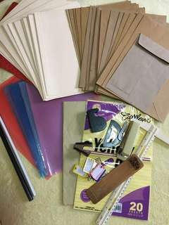 School Office Project Supplies Organizer Set (Folder, Envelope, Yellow Pad, Stapler, Tag, Scotch Tape, T square, Ruler, Sticky Pads)